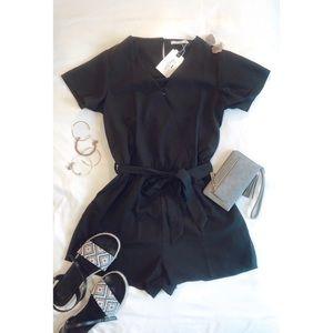 Dresses - Black short sleeve romper